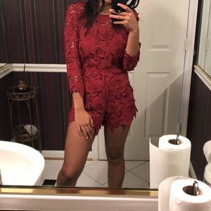 Never worn! Lovers and Friends red lace romper